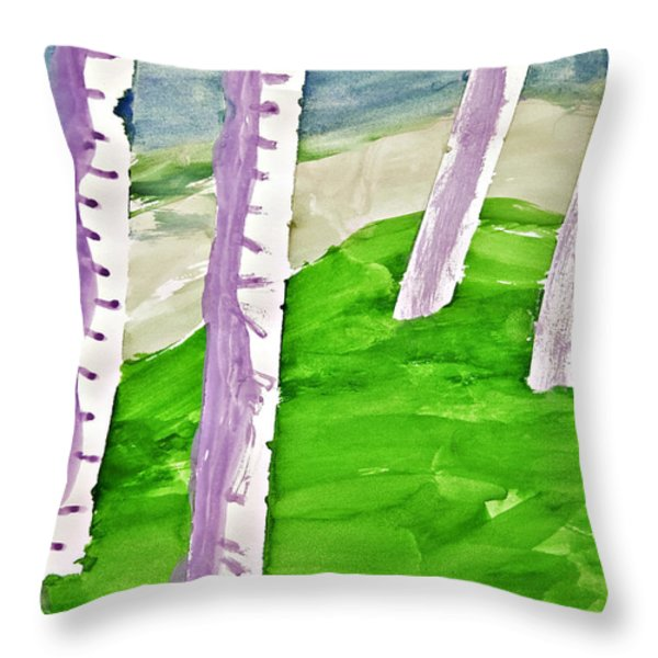 Abstract Trees Throw Pillow by Susan Leggett