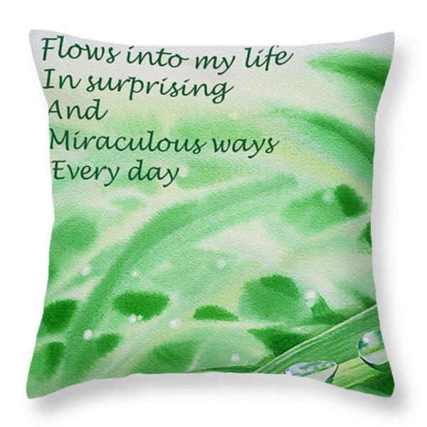 Abundance Affirmation Throw Pillow by Irina Sztukowski