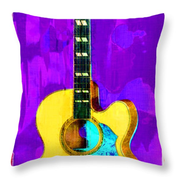 Acoustic Guitar Abstract Throw Pillow by David G Paul