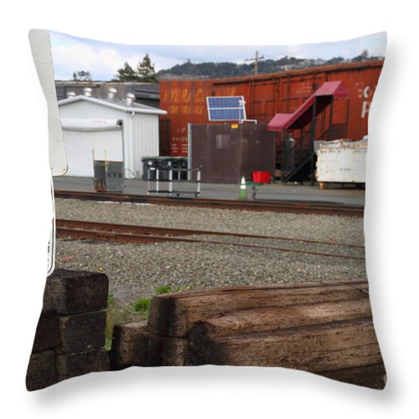 Active Railroad . No Tresspassing Throw Pillow by Wingsdomain Art and Photography