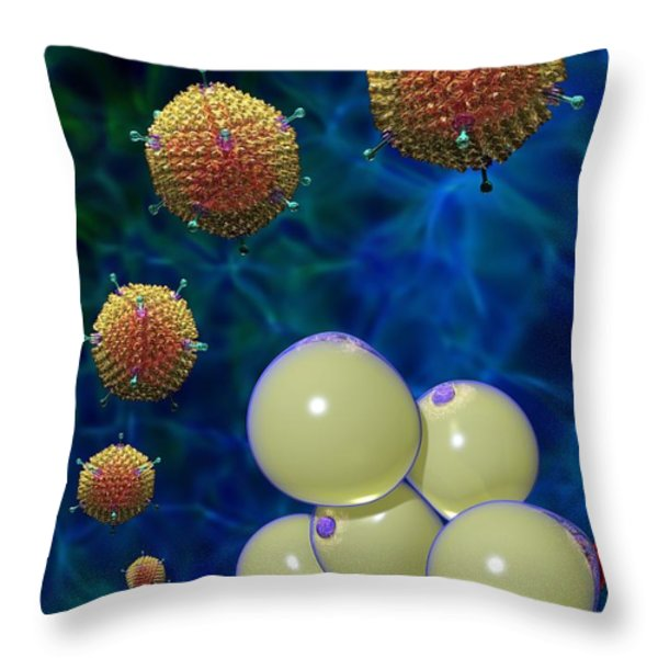 Adenovirus 36 And Fat Cells Throw Pillow by Russell Kightley