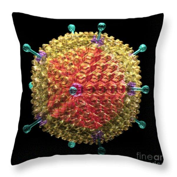 Adenovirus 36 Throw Pillow by Russell Kightley