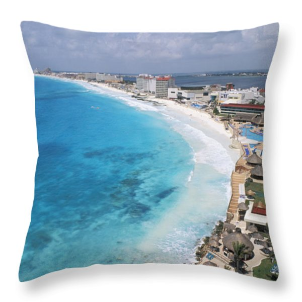 Aerial Of Cancun Throw Pillow by Bill Bachmann - Printscapes