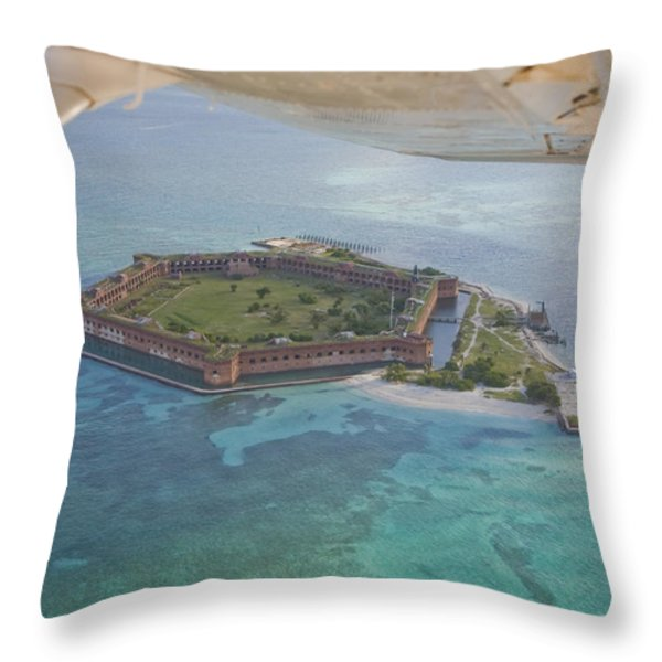 Aerial Of Fort Jeffereson, At Dry Throw Pillow by Mike Theiss