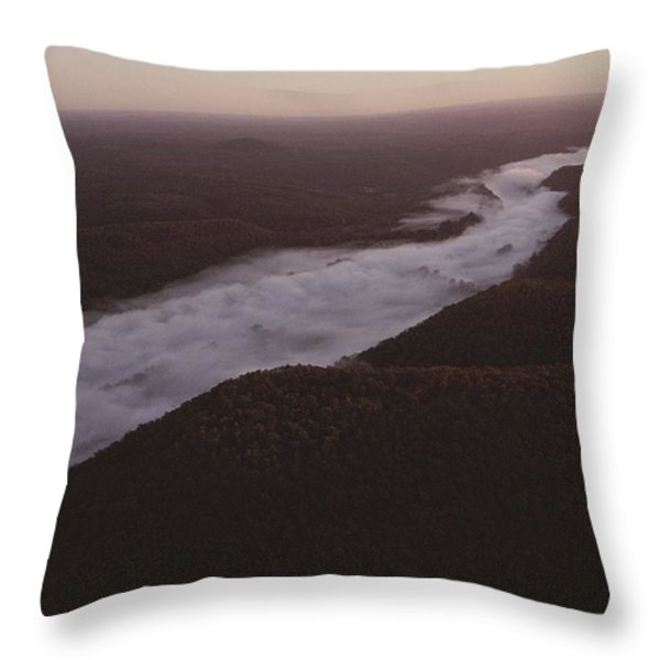 Aerial Of The Buffalo River Throw Pillow by Randy Olson