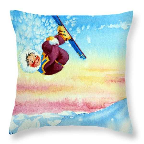 Aerial Skier 13 Throw Pillow by Hanne Lore Koehler