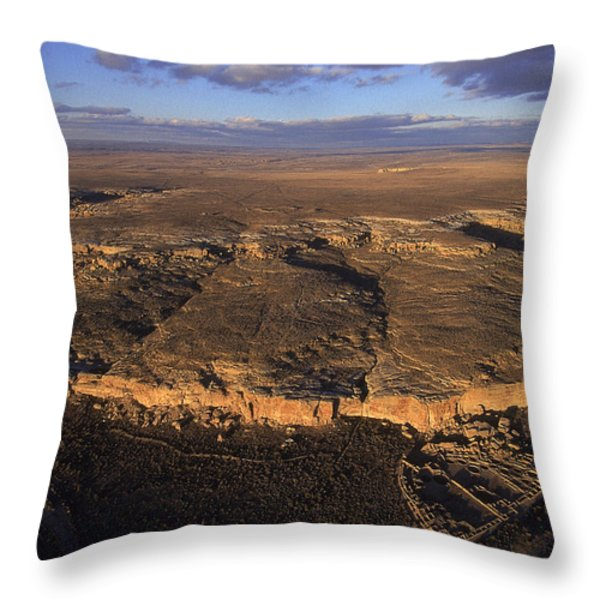 Aerial View Of Chaco Canyon And Ruins Throw Pillow by Ira Block