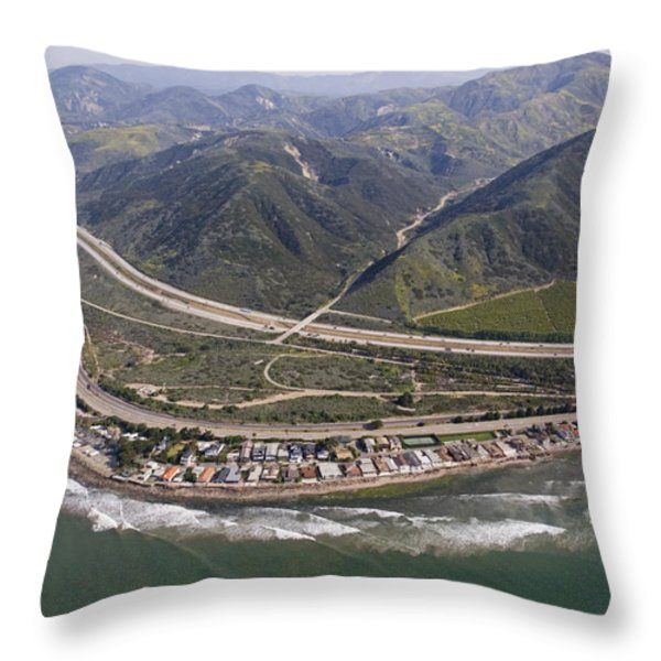 Aerial View Of Highway 1 As It Meets Throw Pillow by Rich Reid