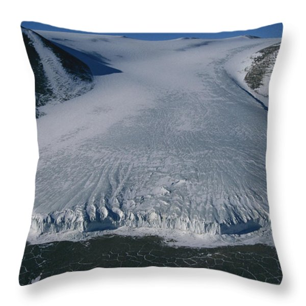 Aerial View Of Taylor Glacier Throw Pillow by Maria Stenzel