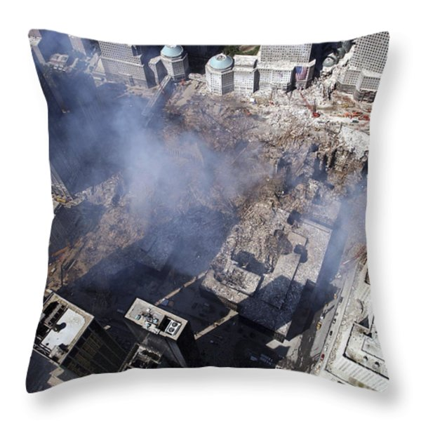 Aerial View Of The Destruction Where Throw Pillow by Stocktrek Images