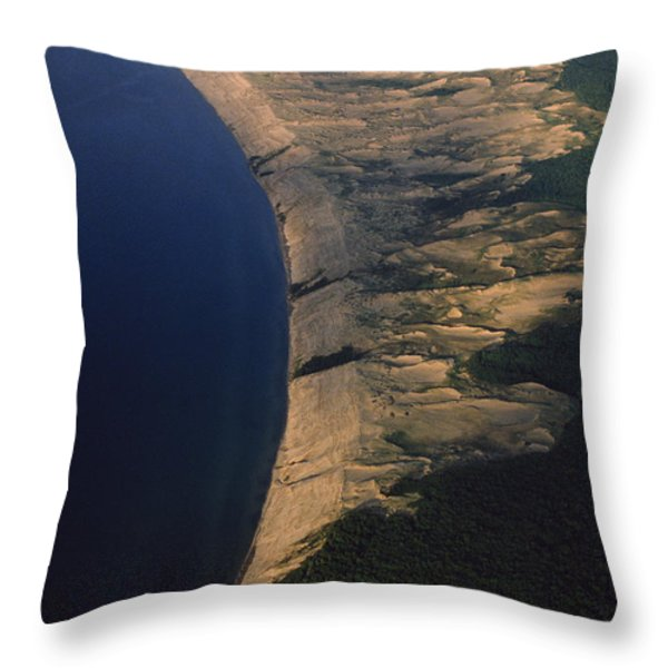 Aerial View Of The Grand Sable Dunes Throw Pillow by Phil Schermeister