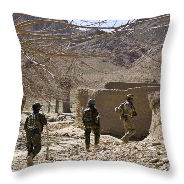 Afghan Commandos Are Guided Throw Pillow by Stocktrek Images
