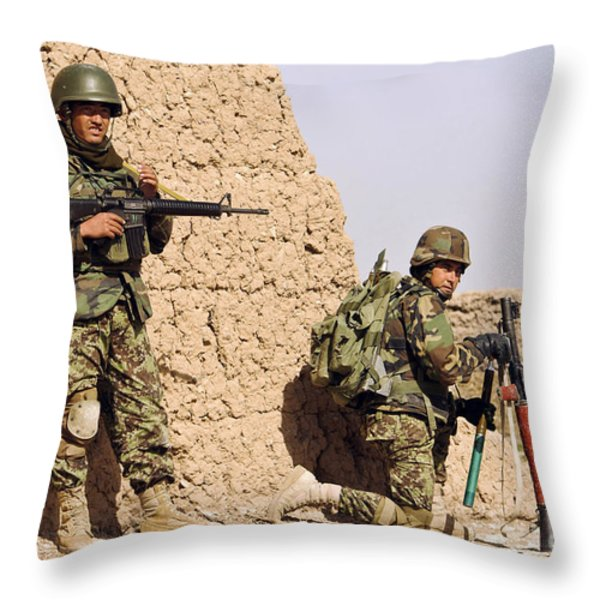 Afghan Soldiers Conduct A Dismounted Throw Pillow by Stocktrek Images