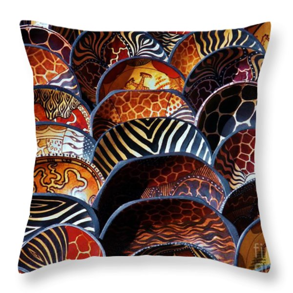 African Art  Wooden Bowls Throw Pillow by Werner Lehmann