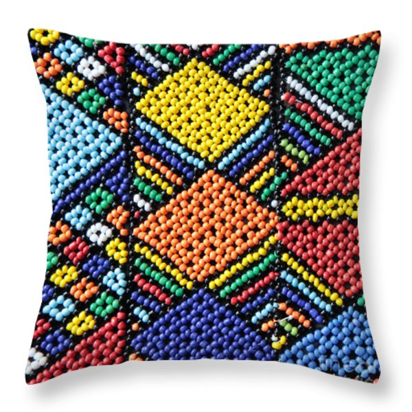 African Beadwork 2 Throw Pillow by Neil Overy