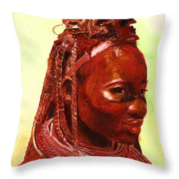 African Beauty Throw Pillow by Enzie Shahmiri