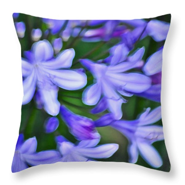 Agapanthus Throw Pillow by Gwyn Newcombe
