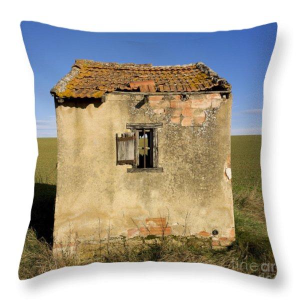 Aged hut in Auvergne. France Throw Pillow by BERNARD JAUBERT