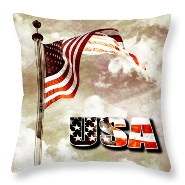 Aged Usa Flag On Pole Throw Pillow by Phill Petrovic