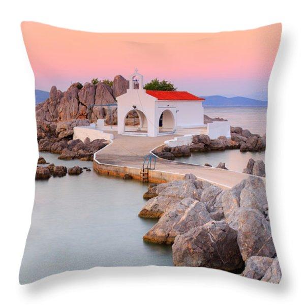 Agios Isidoros Throw Pillow by Emmanuel Panagiotakis