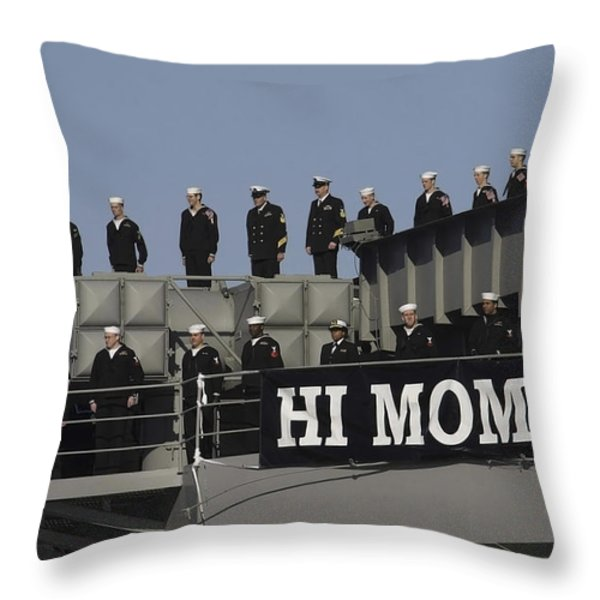 Ailors And Marines Man The Rails Aboard Throw Pillow by Stocktrek Images
