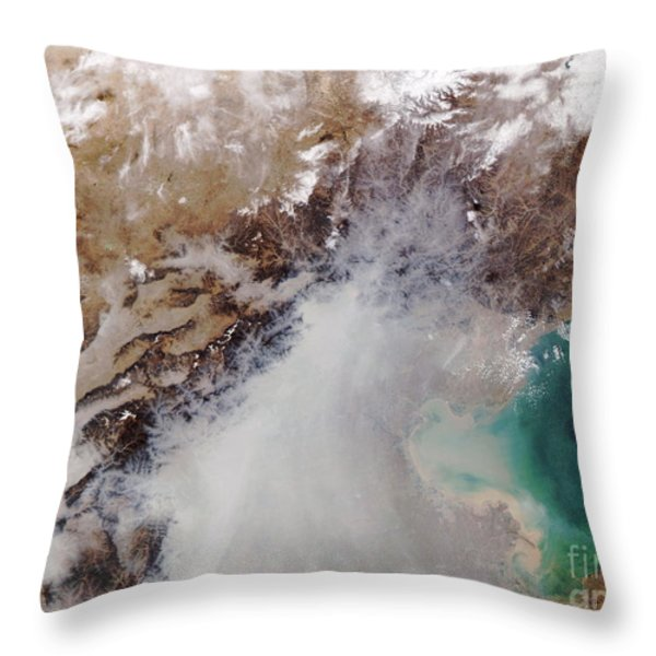 Air Pollution Over China Throw Pillow by NASA / Science Source
