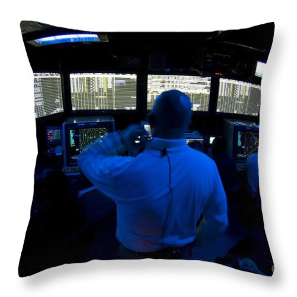 Air Traffic Controller Watches Throw Pillow by Stocktrek Images