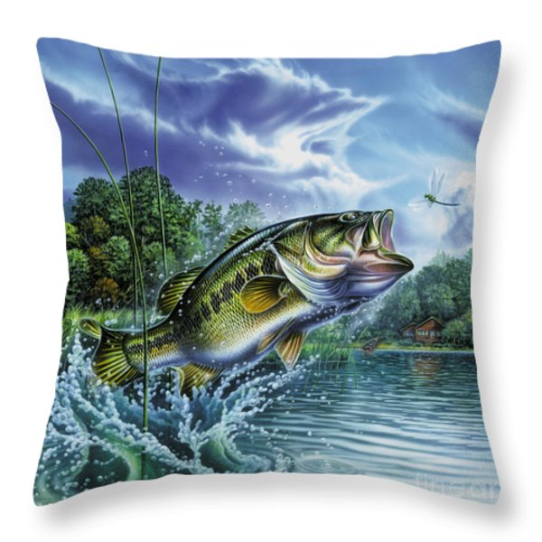 Airborne Bass Throw Pillow by Jon Q Wright
