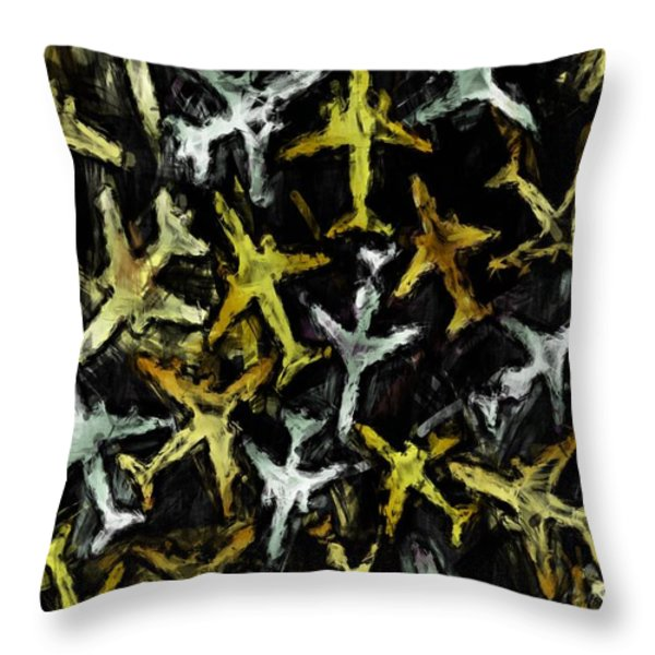 Airlines Collage Abstract Throw Pillow by David G Paul
