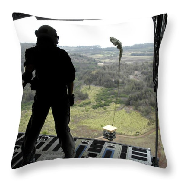 Airman Watches A Practice Bundle Fall Throw Pillow by Stocktrek Images