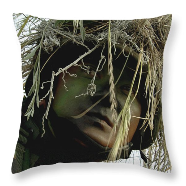 Airman Wearing A Ghillie Suit Throw Pillow by Stocktrek Images
