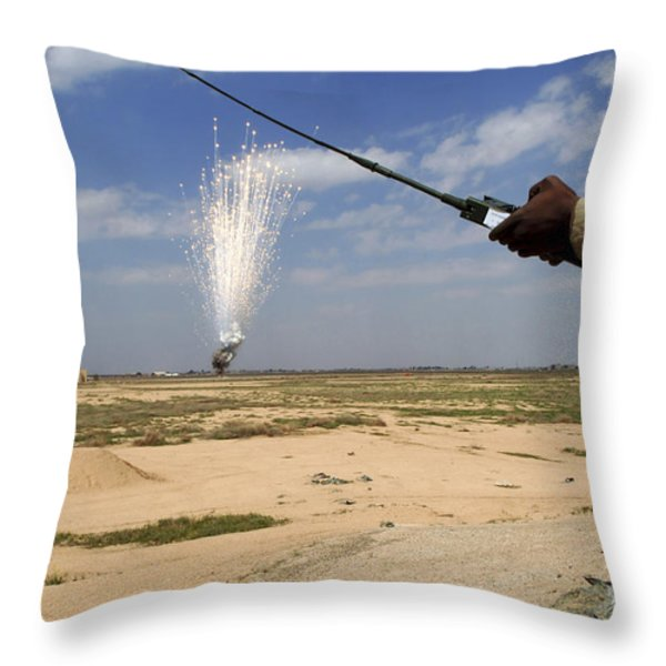 Airmen Conduct A Controlled Detonation Throw Pillow by Stocktrek Images