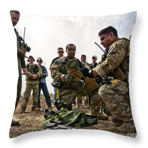 Airmen Explain Their Evidence Gathering Throw Pillow by Stocktrek Images