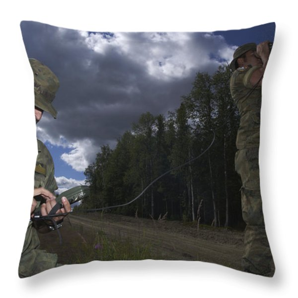 Airmen Use A Range Finder And Gps Unit Throw Pillow by Stocktrek Images