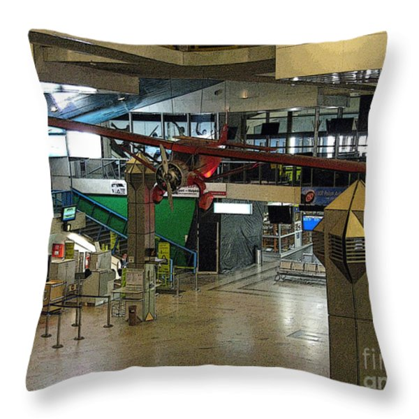 Airport Before The Busy Day. Vilnius. Lithuania. Throw Pillow by Ausra Paulauskaite