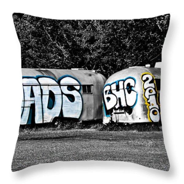 Airstream Graffiti Throw Pillow by Larry  Depee
