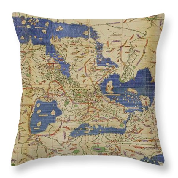 Al Idrisi World Map 1154 Throw Pillow by SPL and Photo Researchers