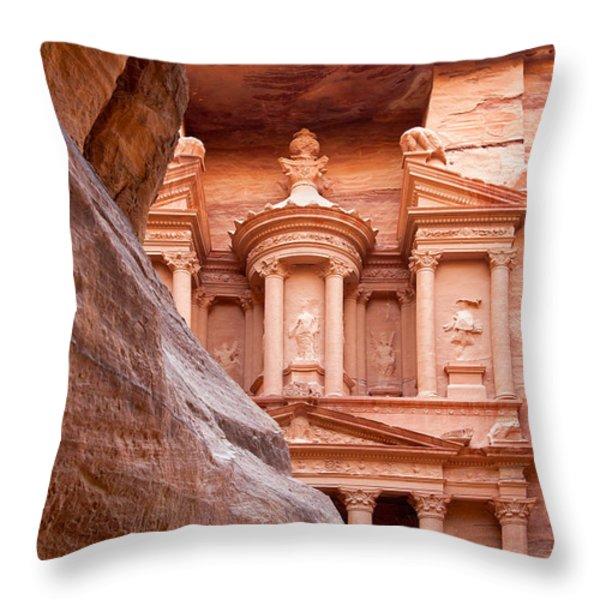 al-Khazneh Throw Pillow by Jane Rix