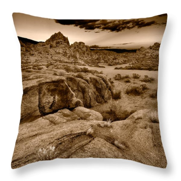 Alabama Hills California B W Throw Pillow by Steve Gadomski