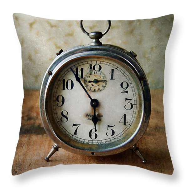 Alarm Clock Throw Pillow by Jill Battaglia