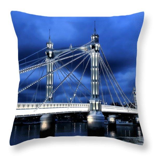 Albert Bridge London Throw Pillow by Jasna Buncic