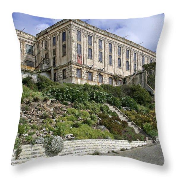 ALCATRAZ CELL HOUSE WEST FACADE Throw Pillow by Daniel Hagerman