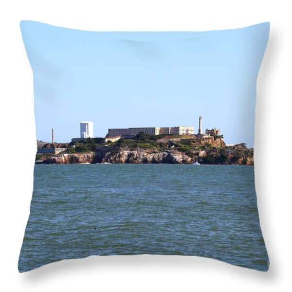 Alcatraz Island In San Francisco California . West Side . 7d14007 Throw Pillow by Wingsdomain Art and Photography