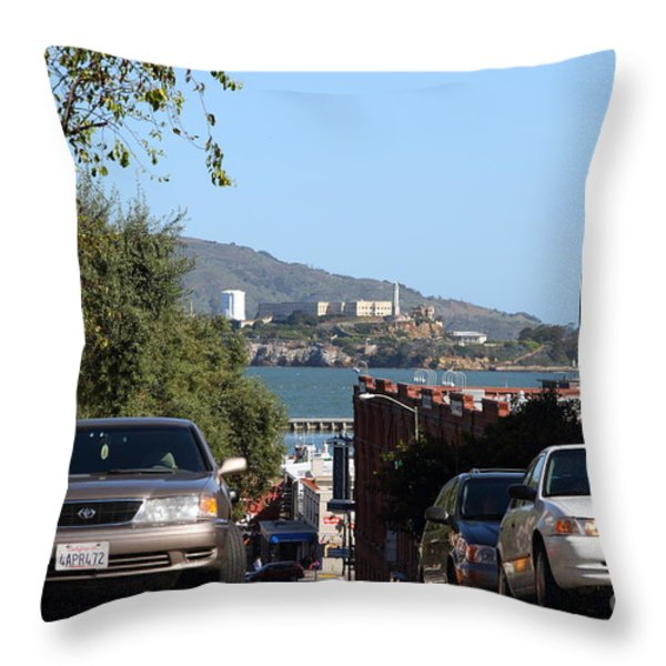 Alcatraz Island Through The Hyde Street Pier in San Francisco California . 7D13973 Throw Pillow by Wingsdomain Art and Photography
