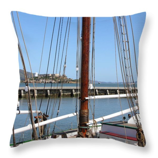 Alcatraz Island Through The Hyde Street Pier in San Francisco California . 7D14147 Throw Pillow by Wingsdomain Art and Photography