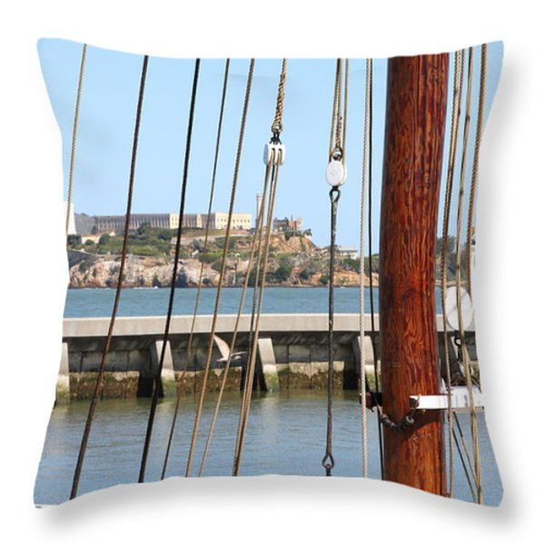Alcatraz Island Through The Hyde Street Pier in San Francisco California . 7D14148 Throw Pillow by Wingsdomain Art and Photography