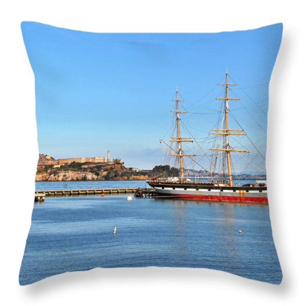 Alcatraz - No escape Throw Pillow by Christine Till