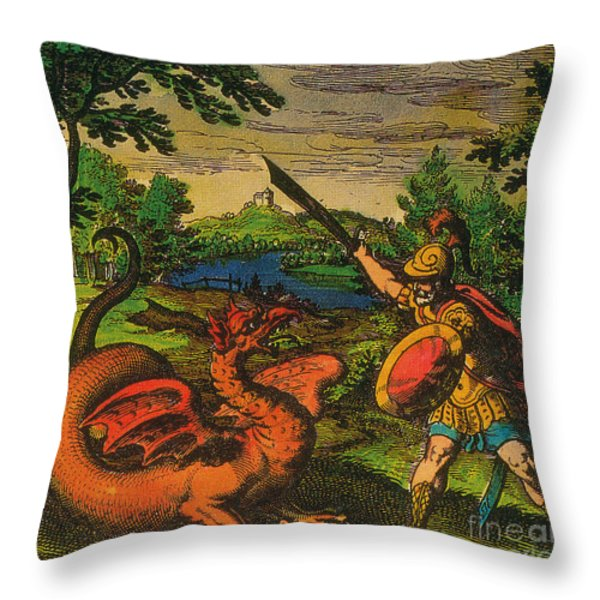 Alchemical Knight Slays The Primordial Throw Pillow by Science Source