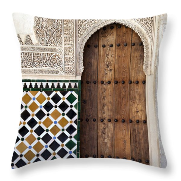 Alhambra door detail Throw Pillow by Jane Rix