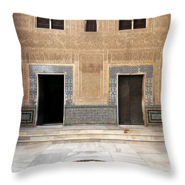 Alhambra inner courtyard Throw Pillow by Jane Rix